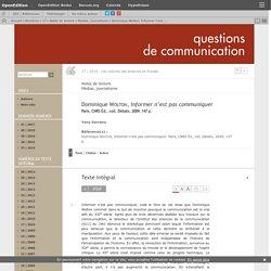 Dominique Wolton, Informer n'est pas communiquer