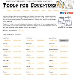 Free Domino Maker - printable text, dot, or image dominos