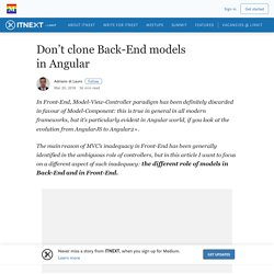 Don't clone Back-End models in Angular