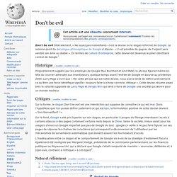 """Don't be evil (""""devise"""" de Google)"""