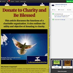Donate to Charity and Be Blessed