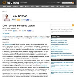 Don't donate money to Japan