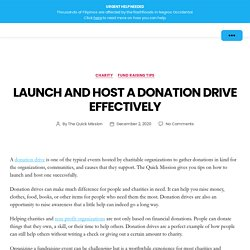 Launch and Host a Donation Drive Effectively