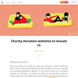 Charity donation websites to donate to - Ishan Arora