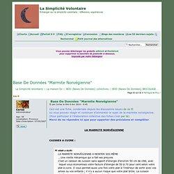 """Base De Données """"Marmite Norvégienne"""""""