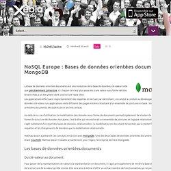 Bdd orientées documents et MongoDB