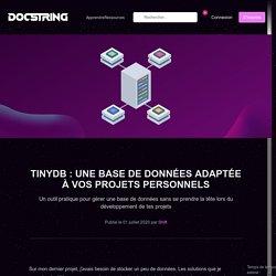 TinyDB : Une base de données adaptée à vos projets personnels - Docstring