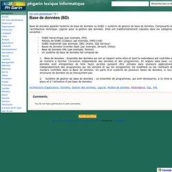 Base de données (BD) - phgarin lexique informatique