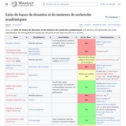 Liste de bases de données et de moteurs de recherche académiques