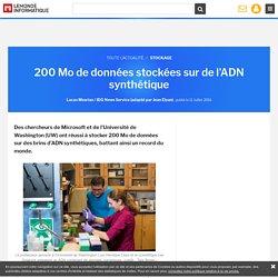 200 Mo de données stockées sur de l'ADN synthétique