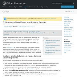fr:Donner à WordPress son Propre Dossier