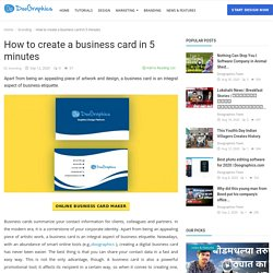 How to create a business card in 5 minutes - Doographics Blog - Graphics Design and advertising tips, inspiration and ideas