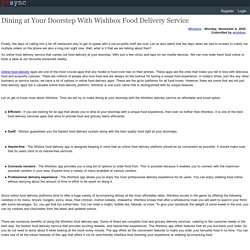 Dining at Your Doorstep With Wishbox Food Delivery Service