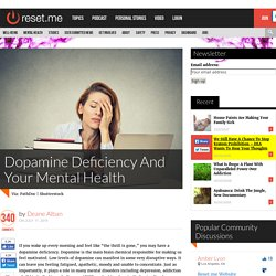 Dopamine Deficiency And Your Mental Health