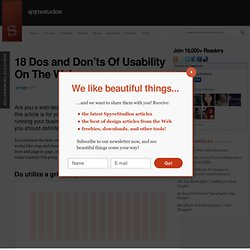 18 Dos and Don'ts Of Usability On The Web