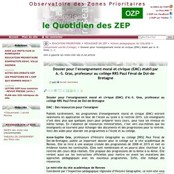 Dossier pour l'enseignement moral et civique (EMC) établi par A.-S. Gras,(...)