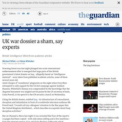 UK war dossier a sham, say experts