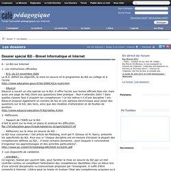 Dossier spécial B2i - Brevet Informatique et Internet