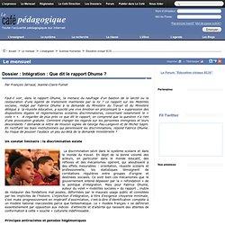 Dossier : Intégration : Que dit le rapport Dhume ?