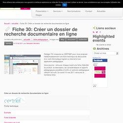 Fiche 30: Créer un dossier de recherche documentaire en ligne