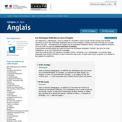 Dossier Accueil - Les techniques théâtrales en cours d'anglais - Anglais - Langues en ligne - CNDP