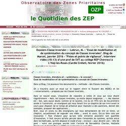 """Dossiers Classe inversée : - Lebrun, M. : """"Essai de modélisation et de(...)"""