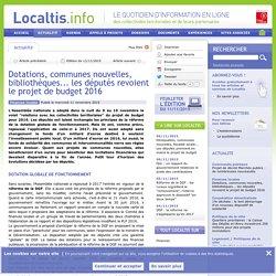 Dotations, communes nouvelles, bibliothèques... les députés revoient le projet de budget 2016
