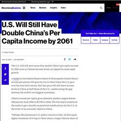 U.S. Will Still Have Double China's Per Capita Income by 2061