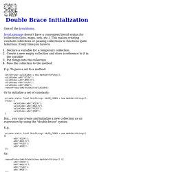 Double Brace Initialization