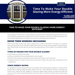 Time To Make Your Double Glazing More Energy-Efficient