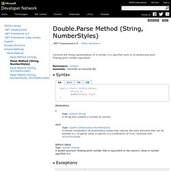 Double.Parse Method (String, NumberStyles) (System)