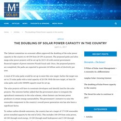 The doubling of Solar Power capacity in the country