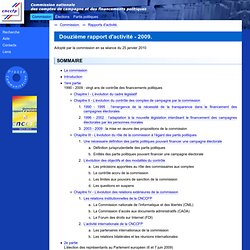 C.N.C.C.F.P. - Douzième rapport d'activité - 2009.