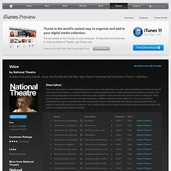 Voice - for iPad/Mac/PC - Download free content from National Theatre on iTunes