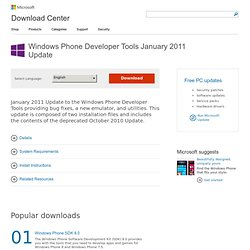 Download details: Windows Phone Developer Tools January 2011 Update
