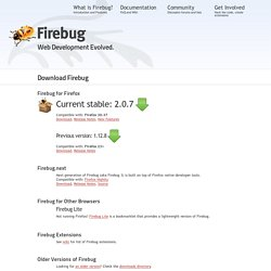 Downloads: All Versions of Firebug : Firebug