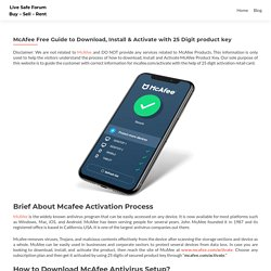 McAfee Free Guide to Download/Install/Activate: Enter 25 Digit product key