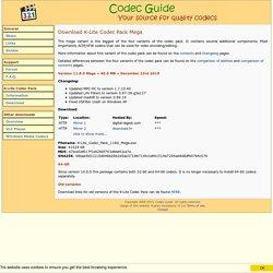 Download K-Lite Codec Pack Mega