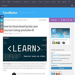 How to Download lynda.com Videos Using youtube-dl