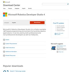 Download Microsoft Robotics Developer Studio 4 from Official Microsoft Download Center