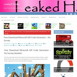 Download Minecraft Gift Code Generator - No Survey Full setup