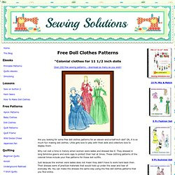 Colonial Doll Clothes Patterns