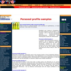 CV Personal Profile Examples
