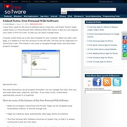 Download Linked Notes: Free Personal Wiki Software
