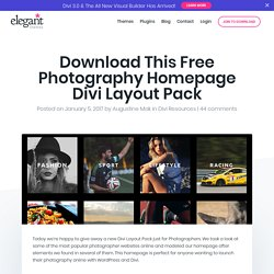 Download This Free Photography Homepage Divi Layout Pack