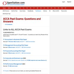 ACCA Past Exams: Download ACCA Questions and Answers