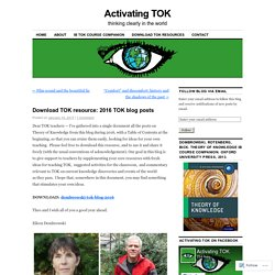 Download TOK resource: 2016 TOK blog posts