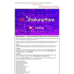 Download RE:Shakespeare - a ground-breaking free app