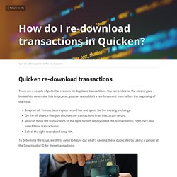 How do I re-download transactions in Quicken? - Quicken Software Accounts