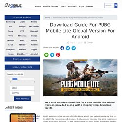 Download Guide For PUBG Mobile Lite Global Version For Android